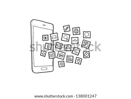 Hand drawn illustration of mobile phone application icons