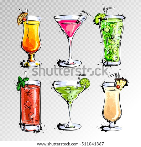 Shutterstock Hand drawn illustration of set of cocktails