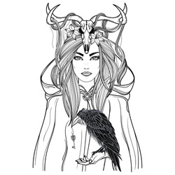 Hand drawn illustration of shaman woman in cloak with raven in hand and deer skull on the head. Alchemy, tattoo art, t-shirt design, adult coloring book page. Isolated vector on white background..
