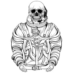 Hand drawn illustration of skeleton astronaut in spacesuit. Design for tattoo, space travel art for t-shirt, adult coloring book page. Isolated vector on background.