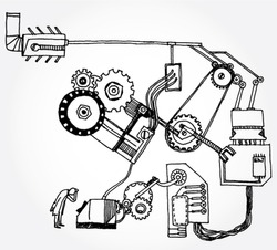 Hand Drawn Illustration of Some Mechanism and a Scientist