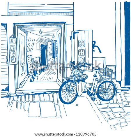 Hand drawn illustration of the city street with cute souvenir shop, red bicycle and stone pavement drawn in a sketch style. Croatian street. Quiet street in Mediterranean town. Vector illustration. - stock vector