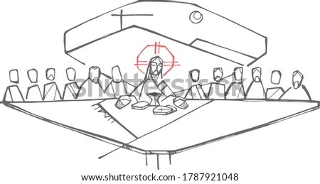 Hand drawn illustration or drawing of Jesus Christ and disciples at the last supper Stock photo ©