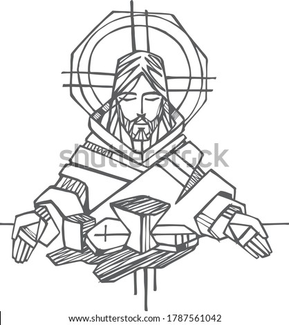 Hand drawn illustration or drawing of Jesus Christ at the Last Supper Stock photo ©
