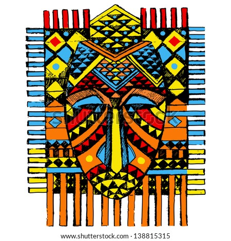 Hand drawn illustration Ornamental element.African mask