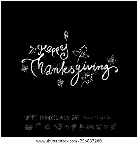 Hand drawn illustration set / Happy Thanksgiving Day - vector #756837280
