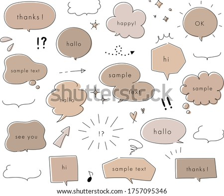 hand drawn illustration set of speech bubbles.