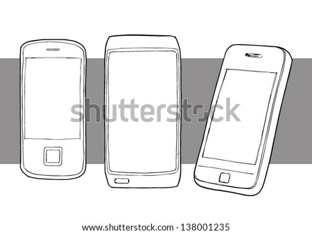 Hand drawn illustration various mobile phones