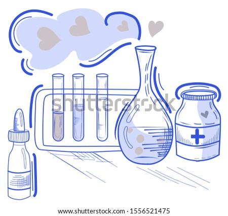 Hand-drawn illustration.Vector doodle on the chemical theme.Flasks, bottles and test tubes for experiments.Experiences in a chemistry lesson.Scientific poster for school.Laboratory tests