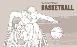 Hand drawn illustration. Wheelchair Basketball. Vector sketch sport. Graphic silhouette of disabled athlete with a ball. Active people. Recreation lifestyle. Man. Handicapped people.
