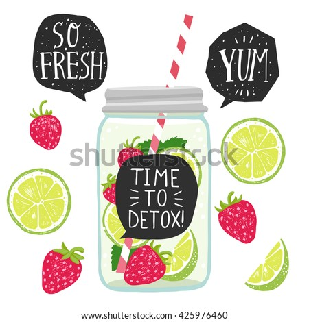 Hand drawn illustration with detox water in jar with lime and strawberry slices, speech bubbles with handwritten lettering. White background