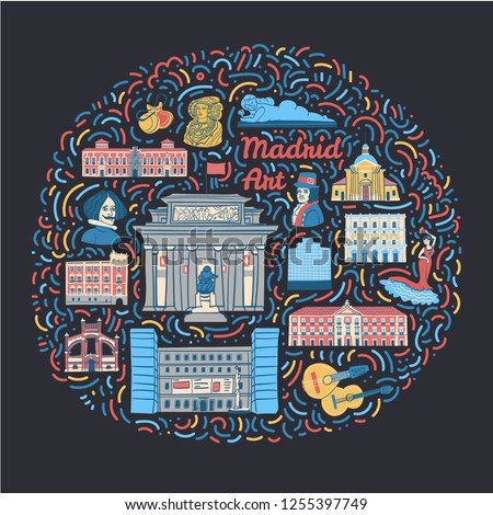 Hand drawn illustration with famous Madrid cultural places such as museums, galleries, monuments, painters, spanish symbols and text. Concept illustration for Spanish art festivals and events.
