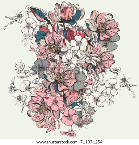 Hand drawn illustration with flowers in vintage style