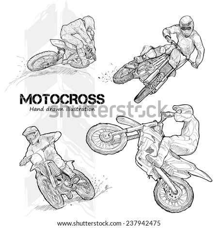Hand drawn illustrations of motocross.