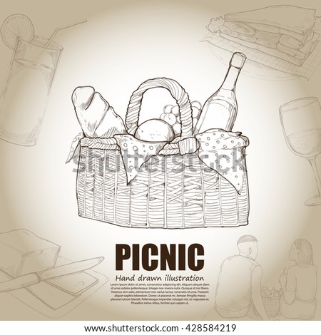 hand drawn illustrations of picnic.
