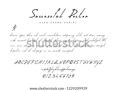 Hand drawn imitation of vector font with brush letters and numbers for prescription medicine. Sketch of neat handwritten or doodle ink alphabet for typography