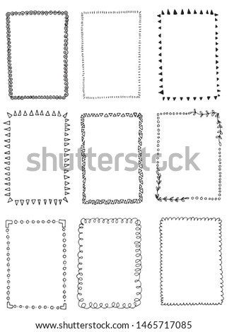 Hand drawn inc frames set. Cartoon vector square borders. Pencil effect shapes isolated.