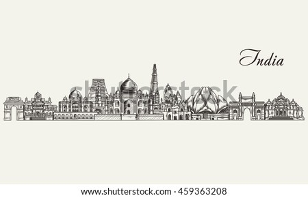Shutterstock Hand drawn India skyline. Vector illustration
