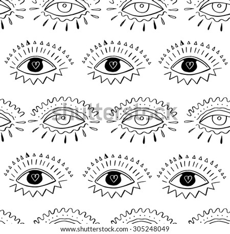 Hand Drawn Indian Aztec Tribal Eye With Feathers Fashion Seamless Pattern