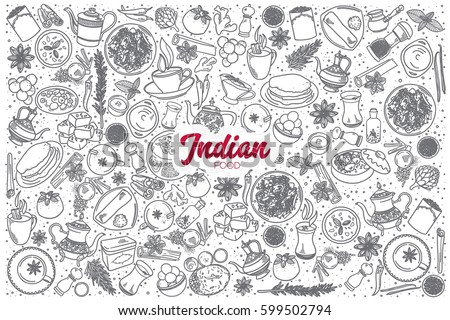 Hand drawn Indian food doodle set background with red lettering in vector