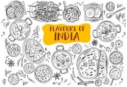 Hand drawn Indian food, Vector Illustration