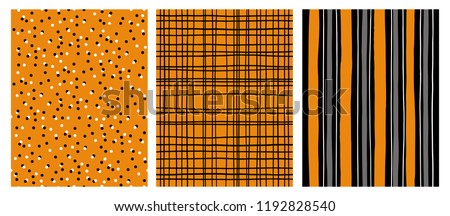 stock-vector-hand-drawn-infantile-style-vector-patterns-orange-gray-and-black-stripes-on-a-white-background