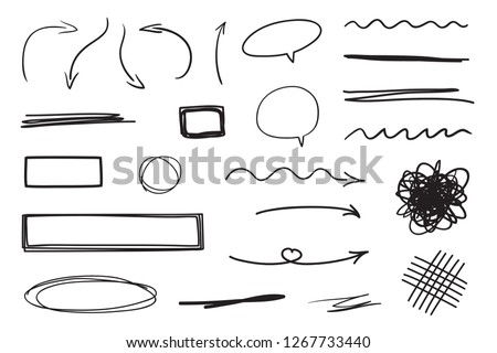 Hand drawn infographic elements on white. Abstract arrows. Line art. Set of different shapes. Black and white illustration. Doodles for artwork Сток-фото ©
