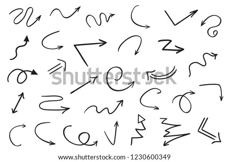 Hand drawn infographic elements on white. Abstract arrows. Line art. Set of different signs. Black and white illustration. Doodles for artworks