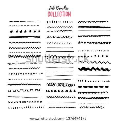 Hand drawn ink borders set, unique swirls, dividers collection. Artistic hand drawn thin brushes. Isolated elements.