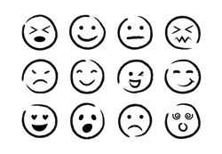Hand drawn ink emoji faces. Doodle emoticons sketch, ink brush icons of happy sad face, vector illustration