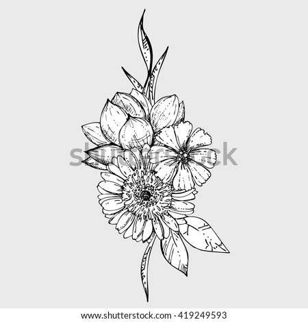 hand drawn ink floral ornament