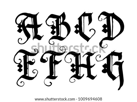 Hand Drawn Ink Gothic Style Lettering Alphabet Typographic Decorative FontLetters AB