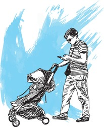 hand drawn ink illustration of a father or man walking and pushing a stroller with a baby or child inside it, in a blue grunge background