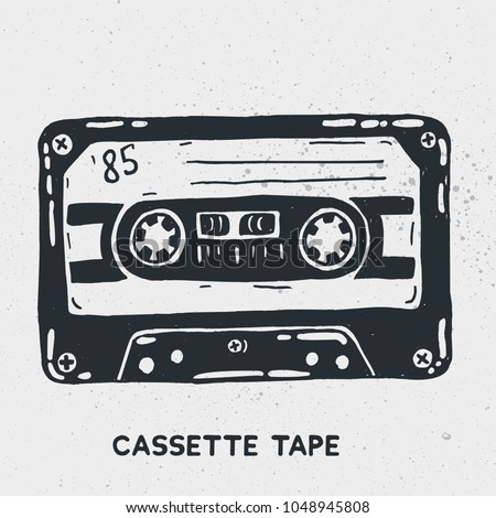 Hand drawn ink illustration of vintage music cassette tape. Vector illustration