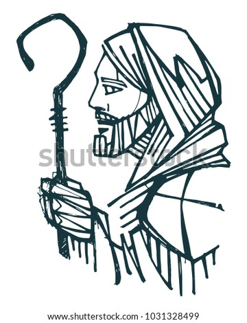 Hand drawn ink illustration or drawing of Jesus Christ Good Shepherd
