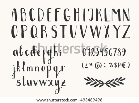 Hand Drawn Ink Letters Vector Font Isolated