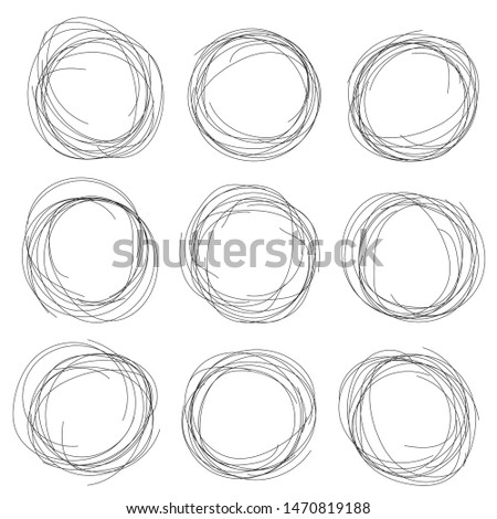 Hand drawn ink line circles or scribble circles vector collection. Circular doodle sketch scribbles or round frames isolated on white with place for text, pencil handwritten art imitation