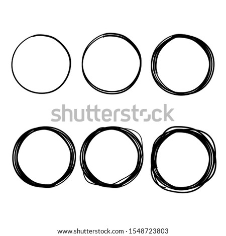 Hand drawn ink line circles or scribble circles vector collection. Circular doodle sketch scribbles or round frames isolated on white with place for text vector illustration