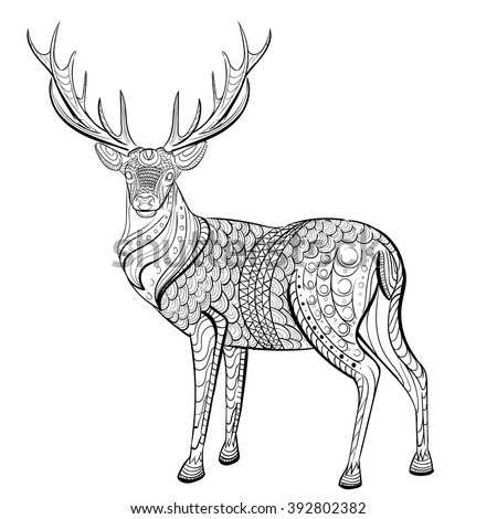 Royalty free deer hand drawn deer for adult anti for Deer coloring pages for adults