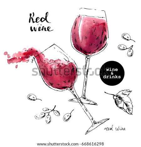 Hand drawn ink sketch of wine glasses with red watercolor stains and grape berries. Illustration for food and drink background or package label.