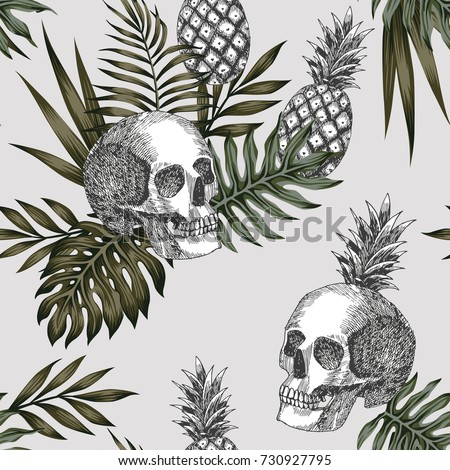 hand drawn ink skull pineapple