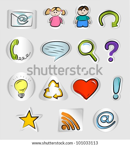 Hand drawn internet and web icons  isolated on white background - stock vector