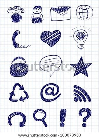 Hand drawn internet and web icons on a paper background