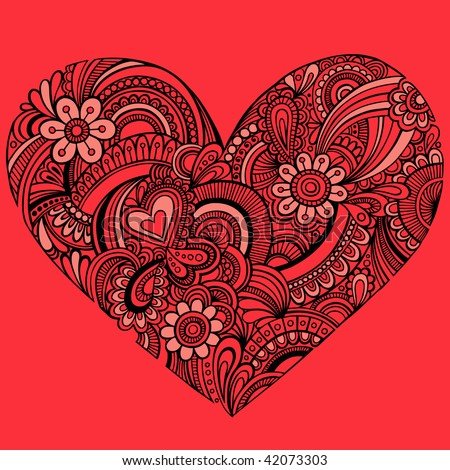 stock vector : Hand-Drawn Intricate Henna Tattoo Paisley Heart Doodle Vector