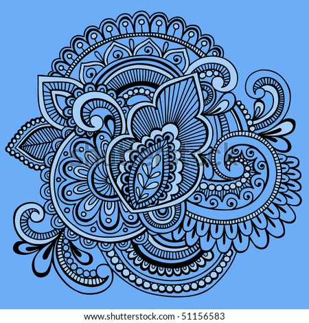 Hand-Drawn Intricate Mehndi Henna Tattoo Paisley Doodle- Vector Illustration on Blue Background