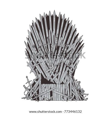 hand drawn iron throne of