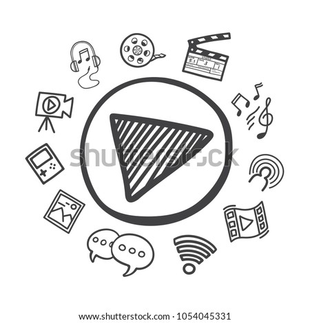 Hand drawn is play button with a social media icon. Vector illustration