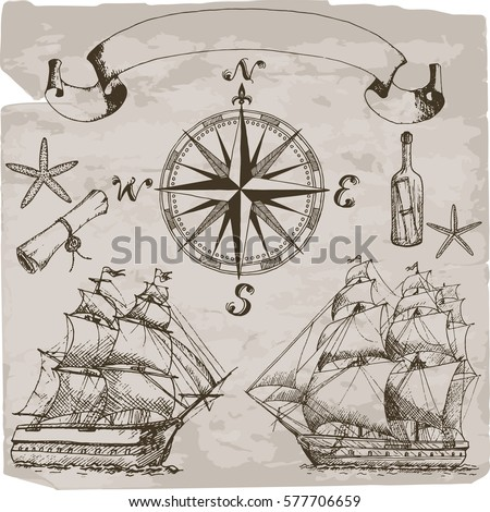 Hand drawn isolated sailing attributes: compass, sailing ship, message in a bottle, starfish, text box.