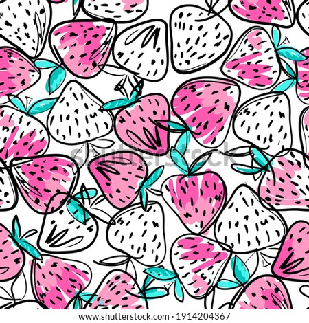 Hand drawn isolated seamless pattern strawberry on white background. Sketched food vector. Abstract colorful illustration.