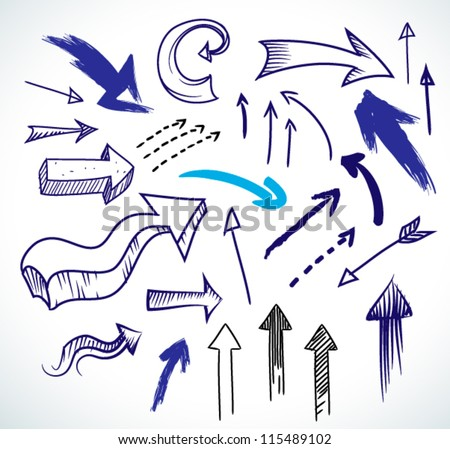 Hand-drawn isolated sketchy arrows colored - vector illustration for advertising and business presentations.